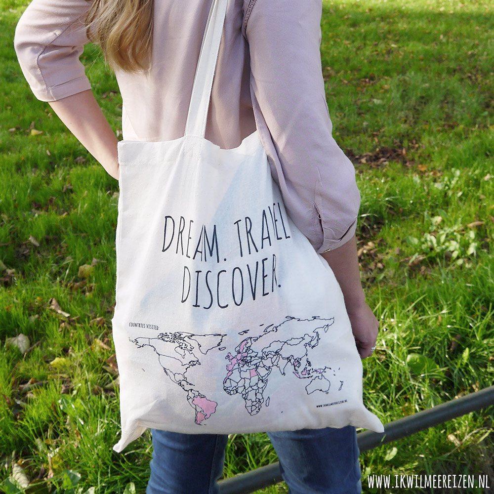 Schoudertassen Hema : Katoenen tas colour your world ik wil meer reizen
