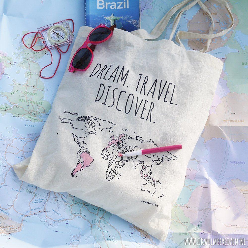 Stoffen Tassen Met Opdruk : Katoenen tas colour your world ik wil meer reizen