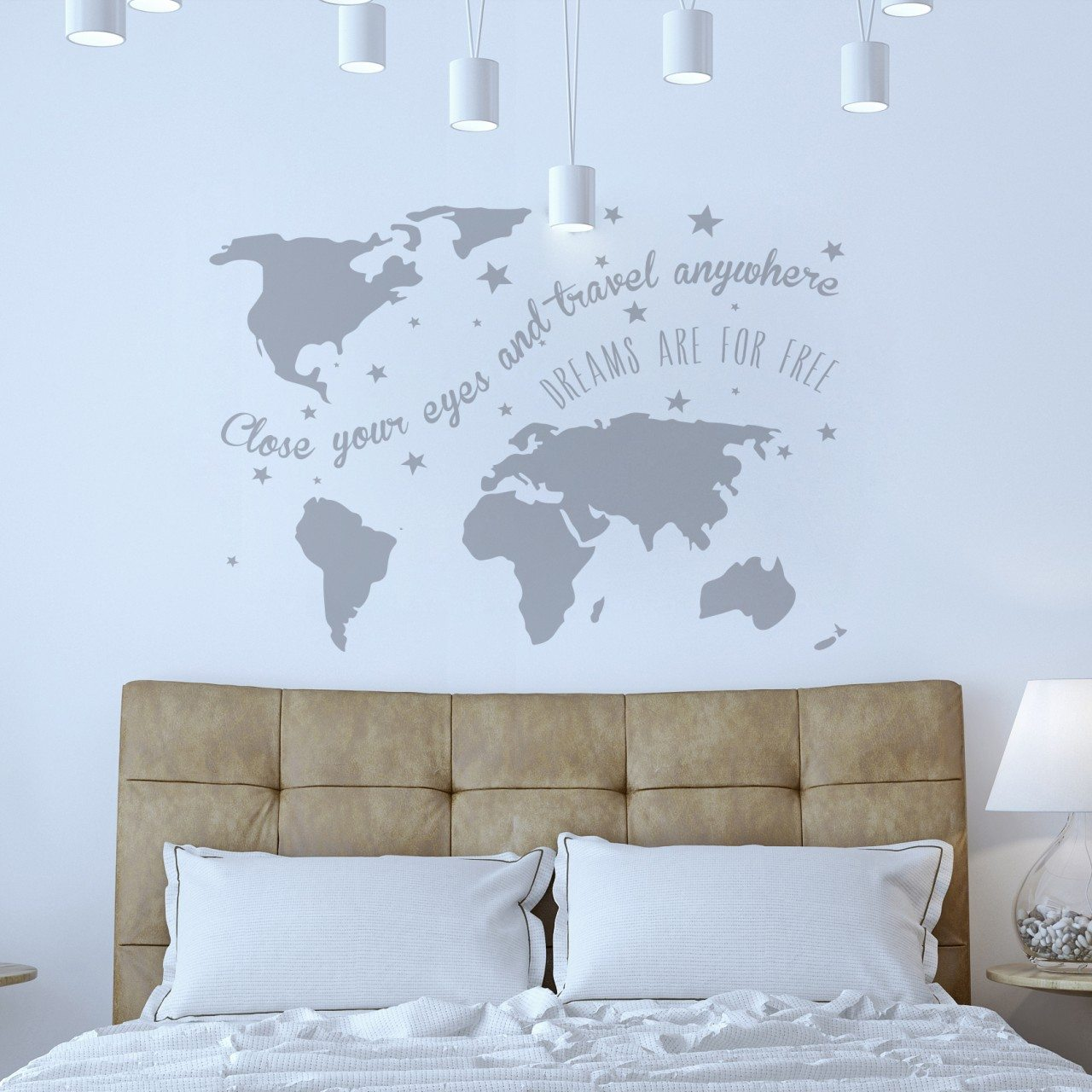 muursticker wereldkaart dreams2 - Muursticker Op Behang