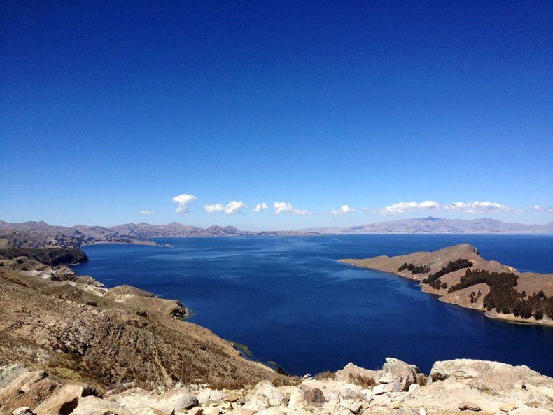 Uitzicht titicacameer Bolivia