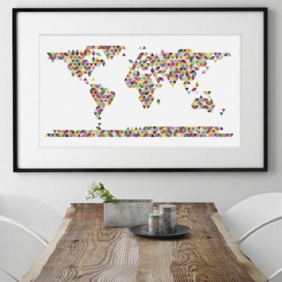 wereldkaart-poster-triangle-lijst