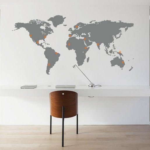 Grote muursticker wereldkaart met pins