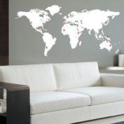 Muursticker wereldkaart met pinpoints-wit