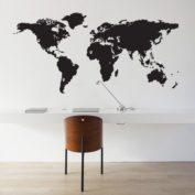 Muursticker wereldkaart met pinpoints - zwart