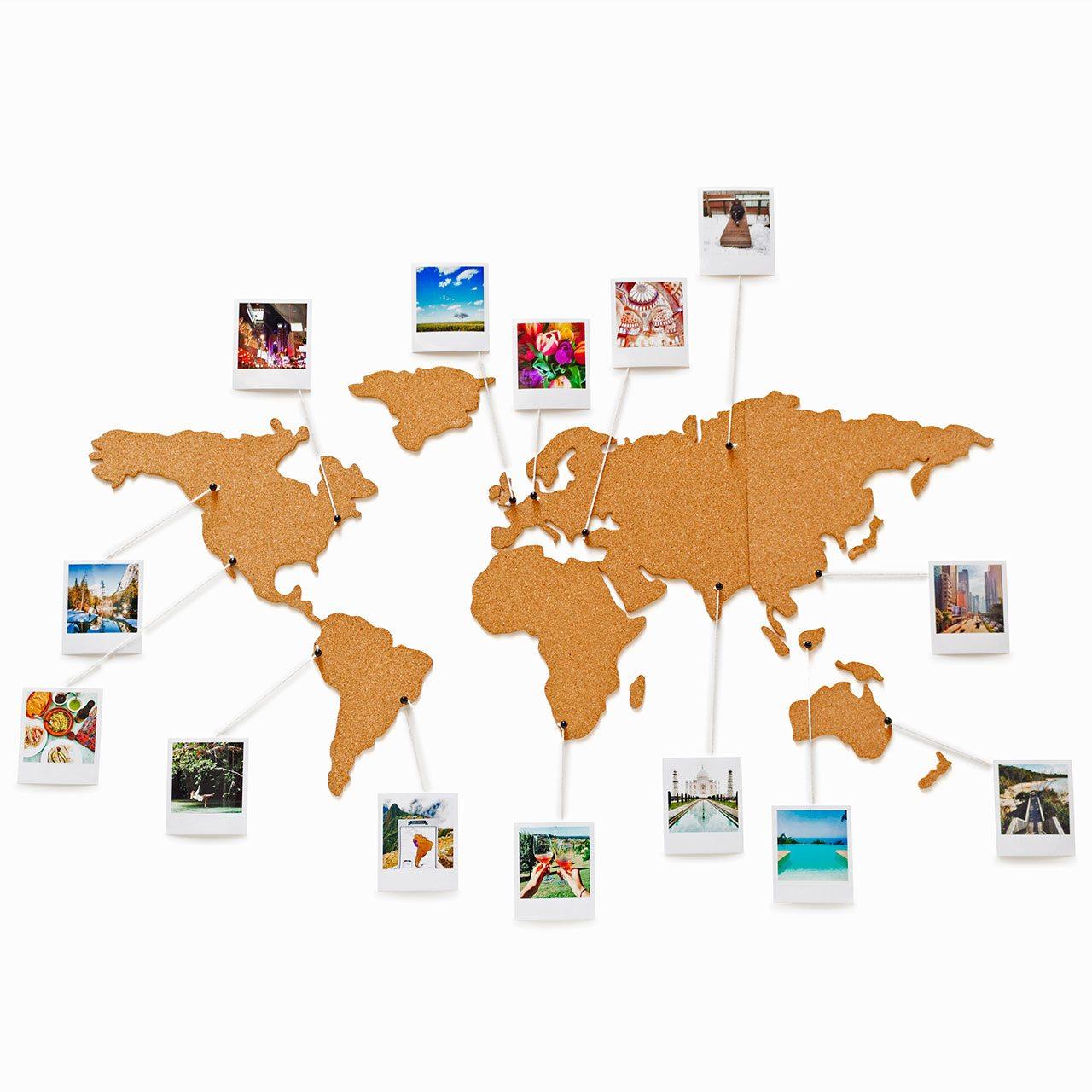 Wereldkaart kurk prikbord