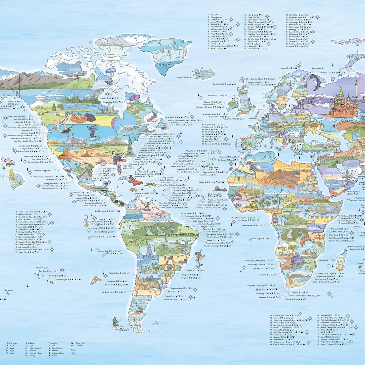 Kitespots Map: wereldkaart voor kitesurfers