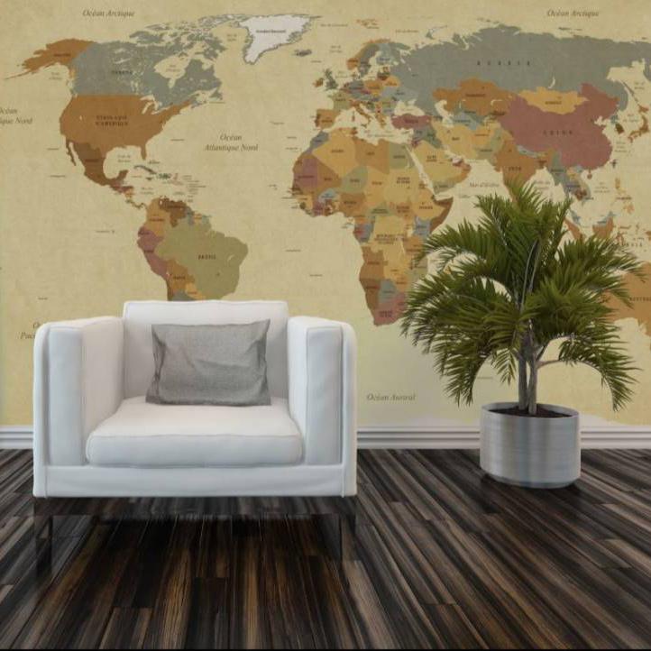 Behang wereldkaart vintage