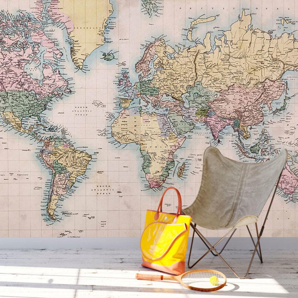 fotobehang-wereldkaart-gedetailleerd