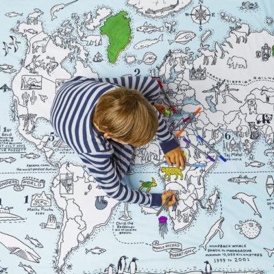 Inkleur dekbedovertrek wereldkaart