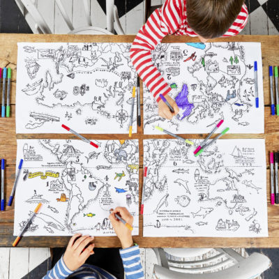 Set inkleur wereldkaart placemats