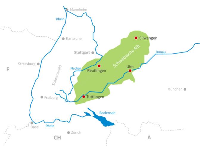 kaart swabische alb