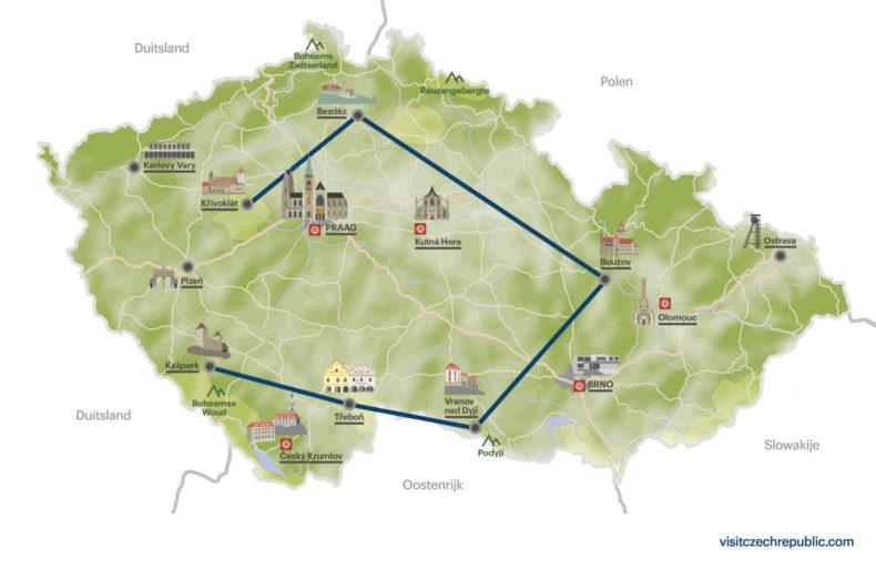 kaart kastelen tsjechië